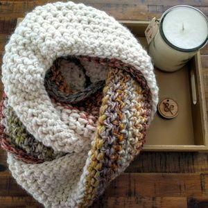 Dark rainbow and cream infinity scarf (handmade)